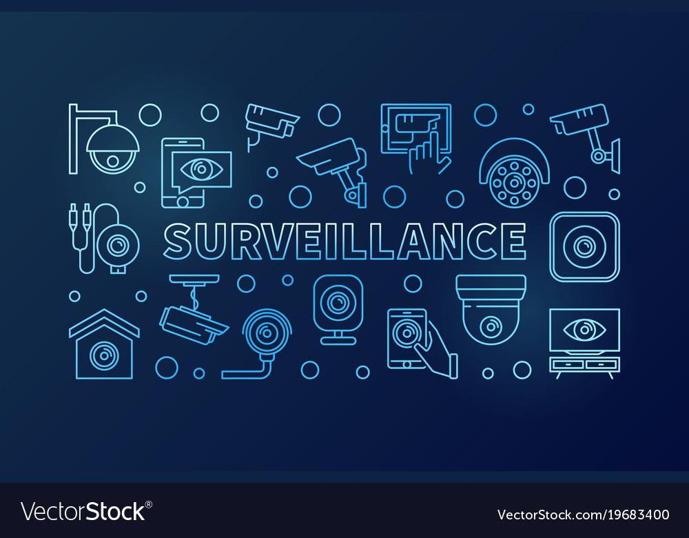 Surveillance blue horizontal linear