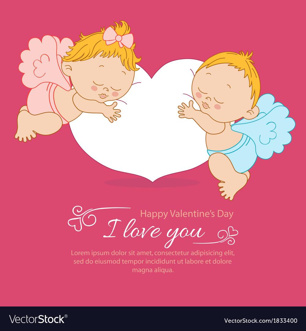 Valentines Day greeting card with two angels