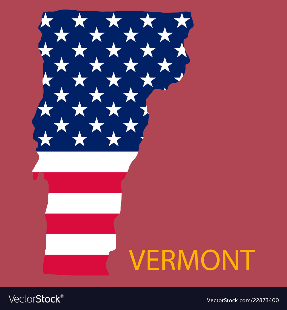 Map Of America Vermont.Vermont State Of America With Map Flag Print On Vector Image