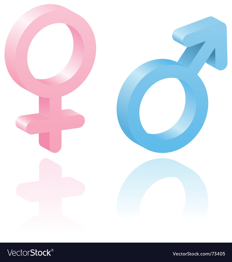 3d male and female symbols