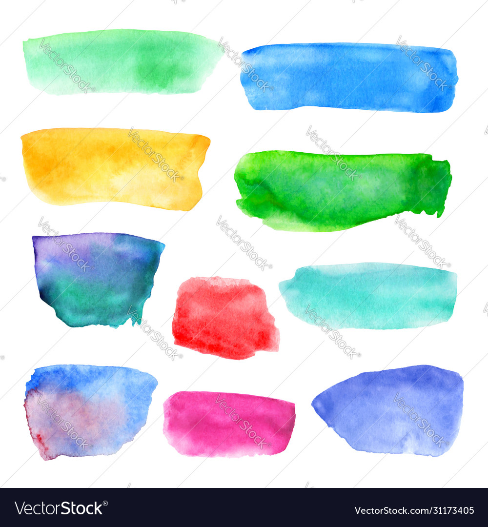Abstract watercolor set colored hand drawn