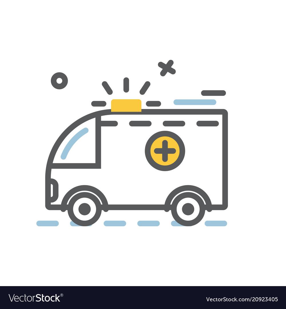 Ambulance emergency car icon flat and thin line