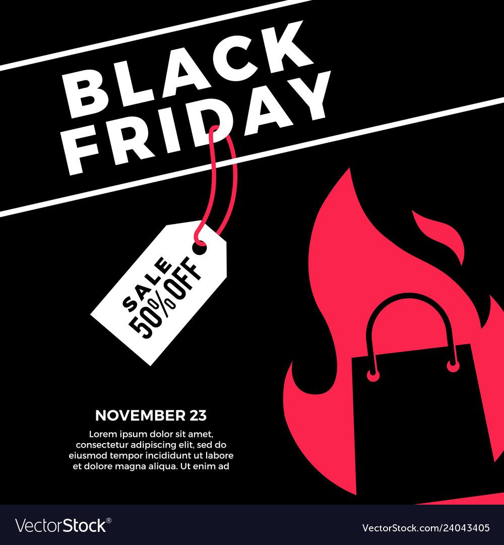 Black friday sale social media post flat