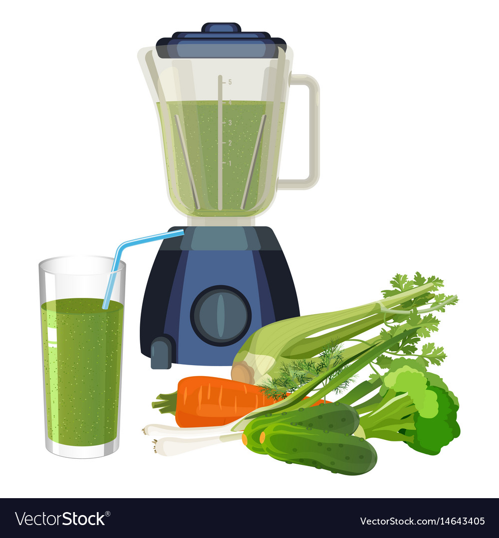 Blender and glass of smoothie made of organic