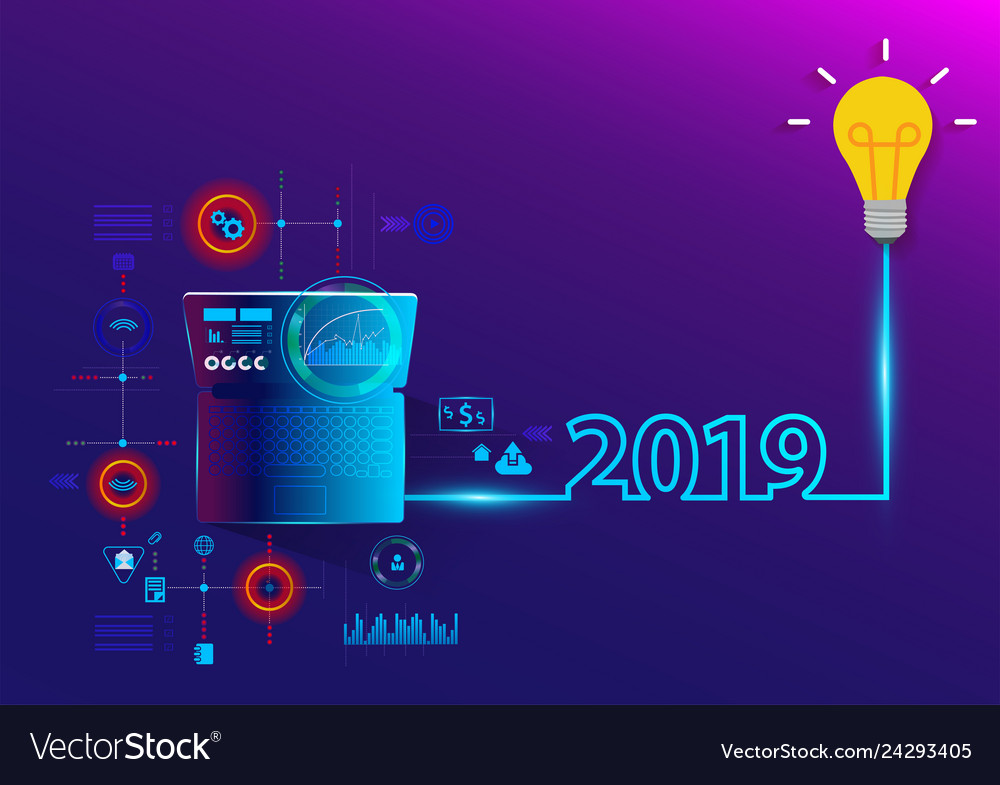 Creative light bulb idea 2019 new year