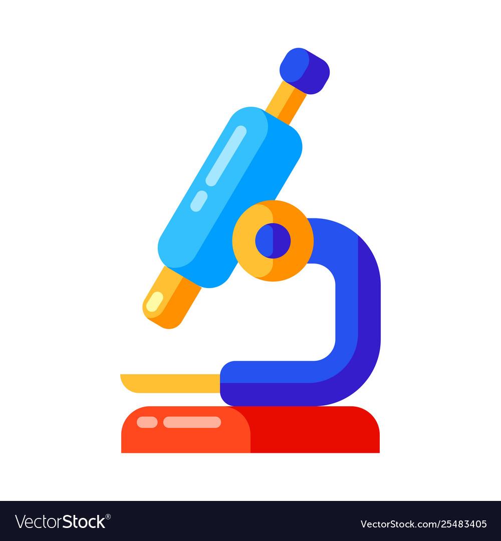 Icon school microscope in flat style