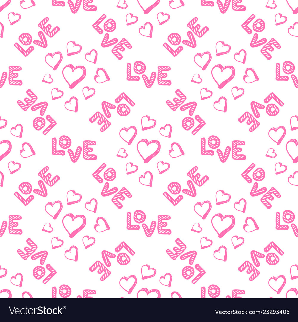 Love seamless pattern with hearts