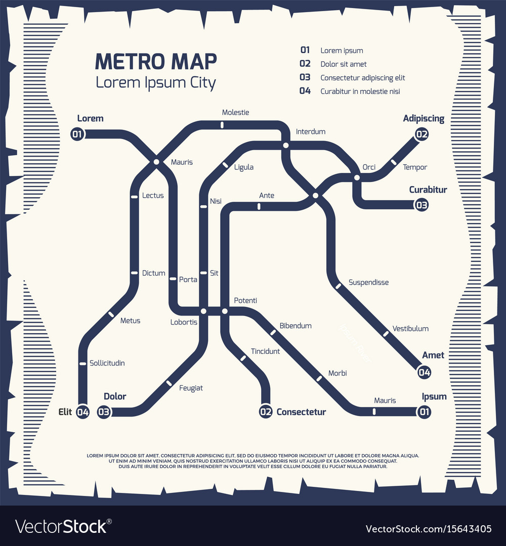 Subway Map Design.Metro Subway Map Subway Poster Design Royalty Free Vector