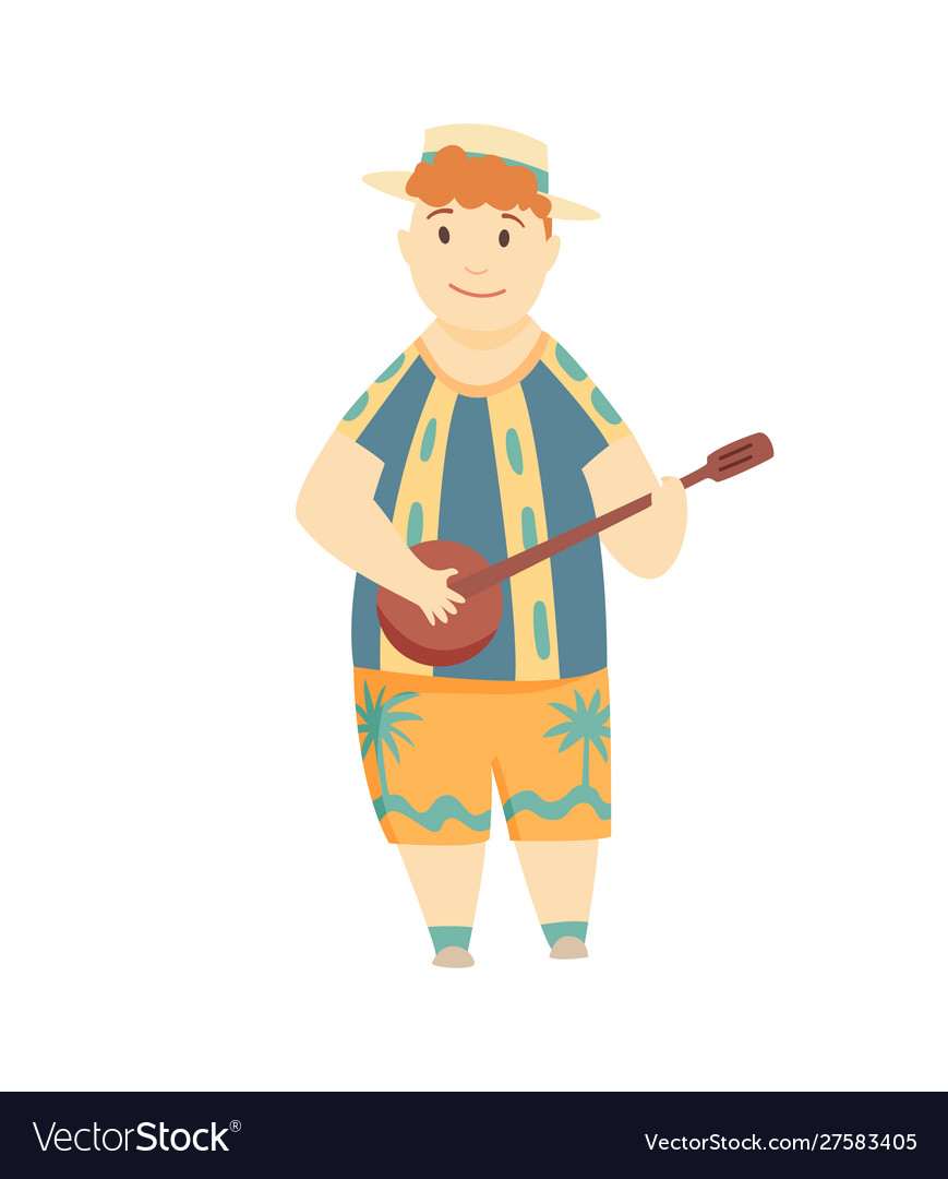 Positive man playing ukulele happy hawaiian boy