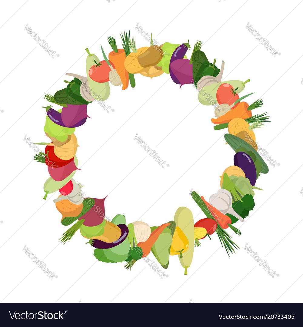 Round frame of vegetables background is harvest