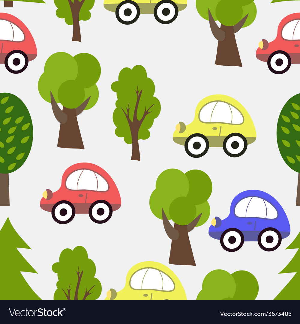 Seamless Pattern with Car and Tree Background