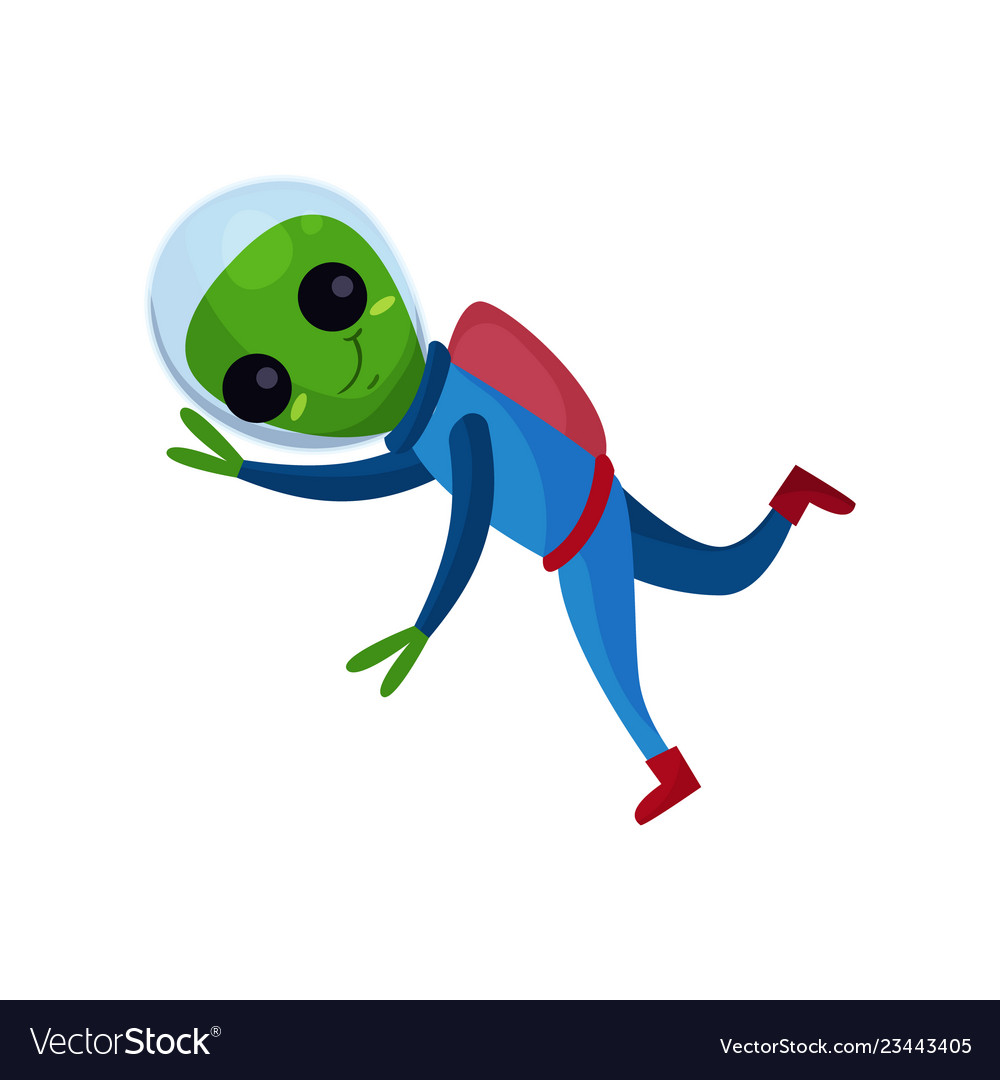 Smiling alien with big eyes wearing blue space