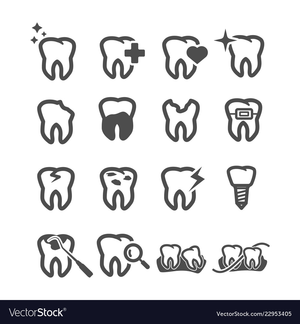 Tooth icons dental and health care concept teeth