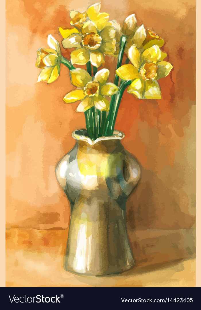 Watercolor painting of daffodil flowers in
