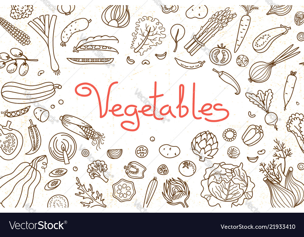 Background with various vegetables and an