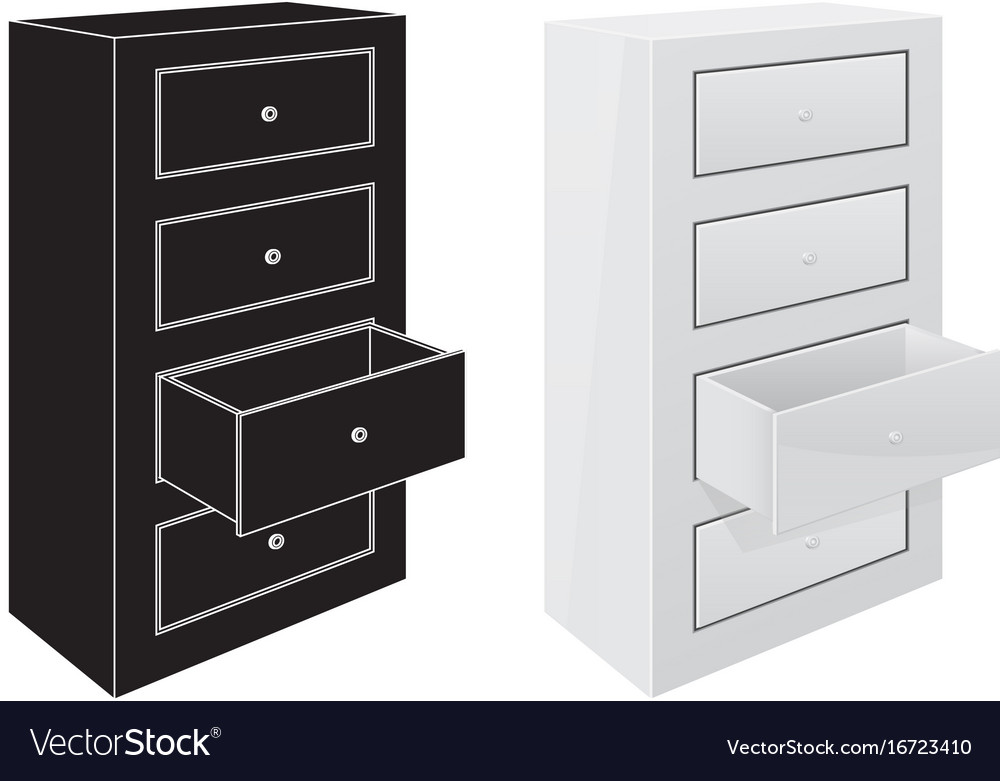 Office Cabinet Drawers Black Silhouette