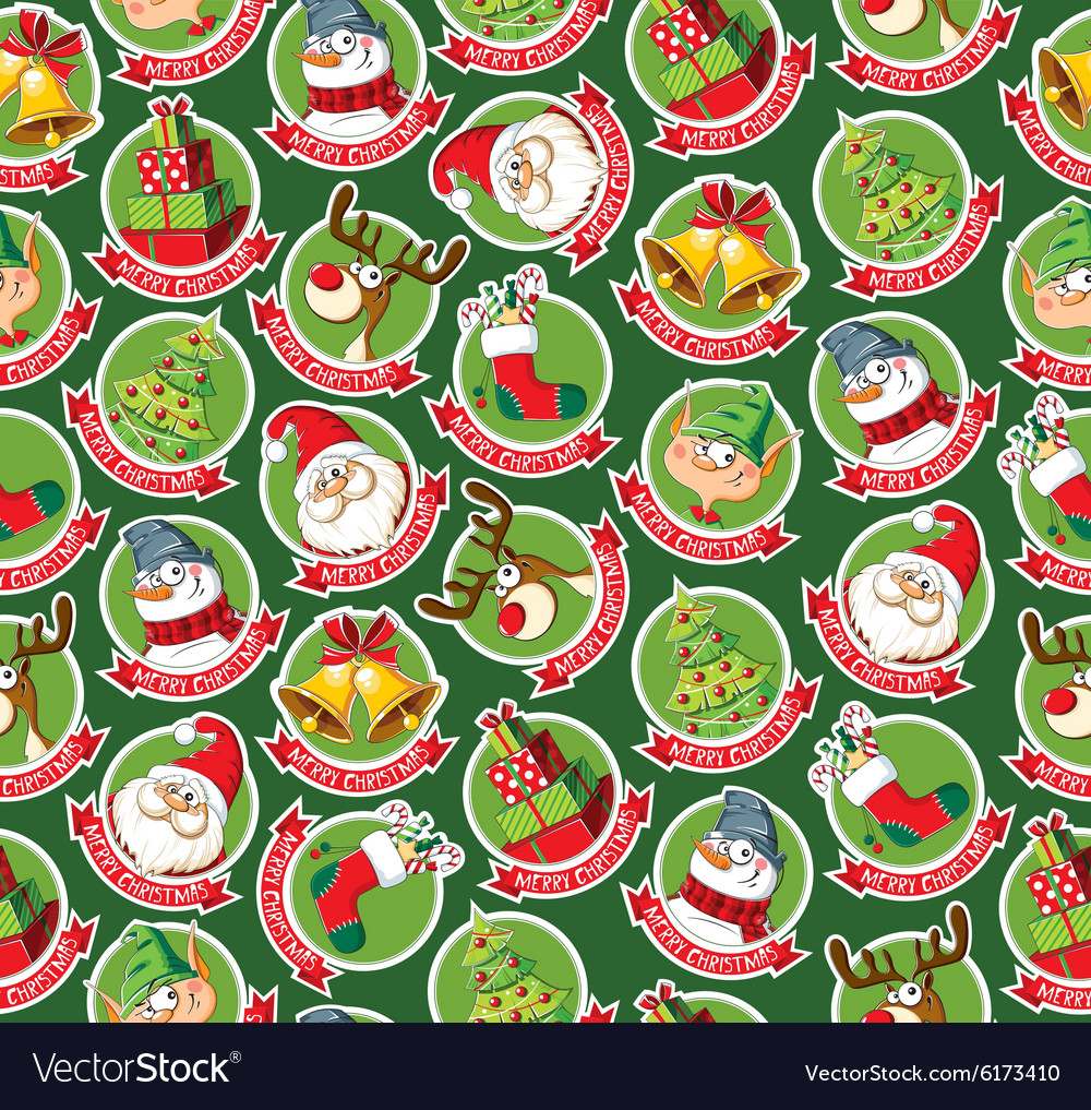 Seamless pattern with funny christmas cartoon