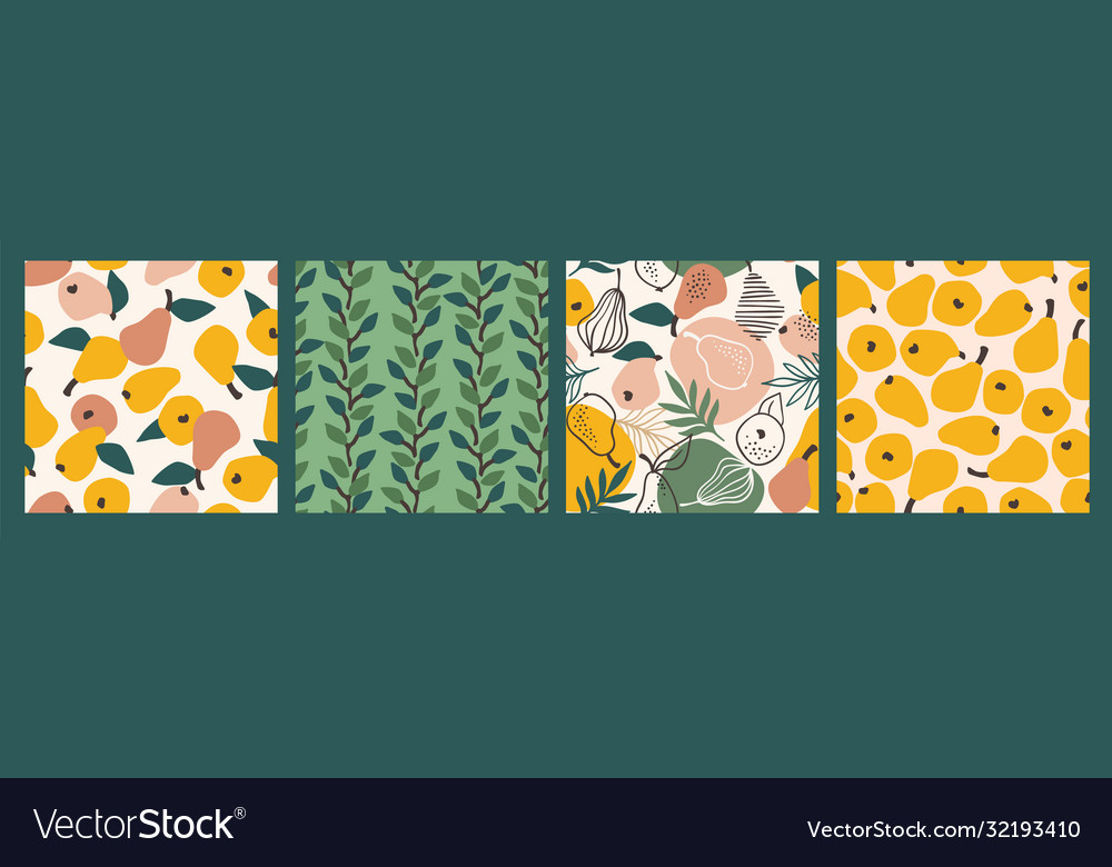 Seamless patterns with simple pears trendy