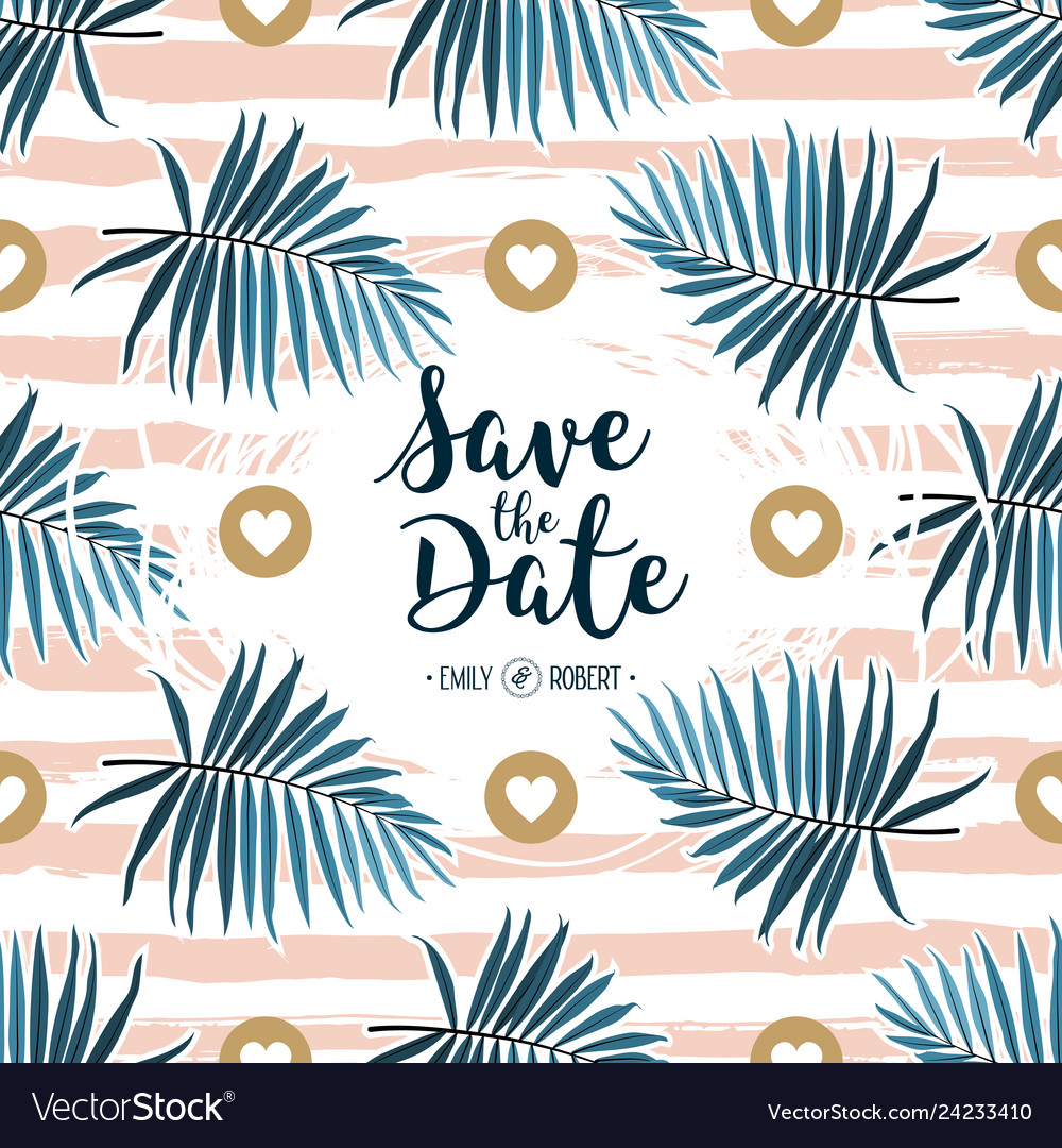 Tropical wedding invitation green palm fronds on