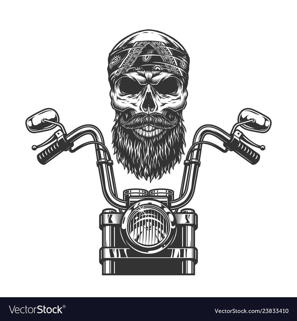 Vintage monochrome biker skull in bandana