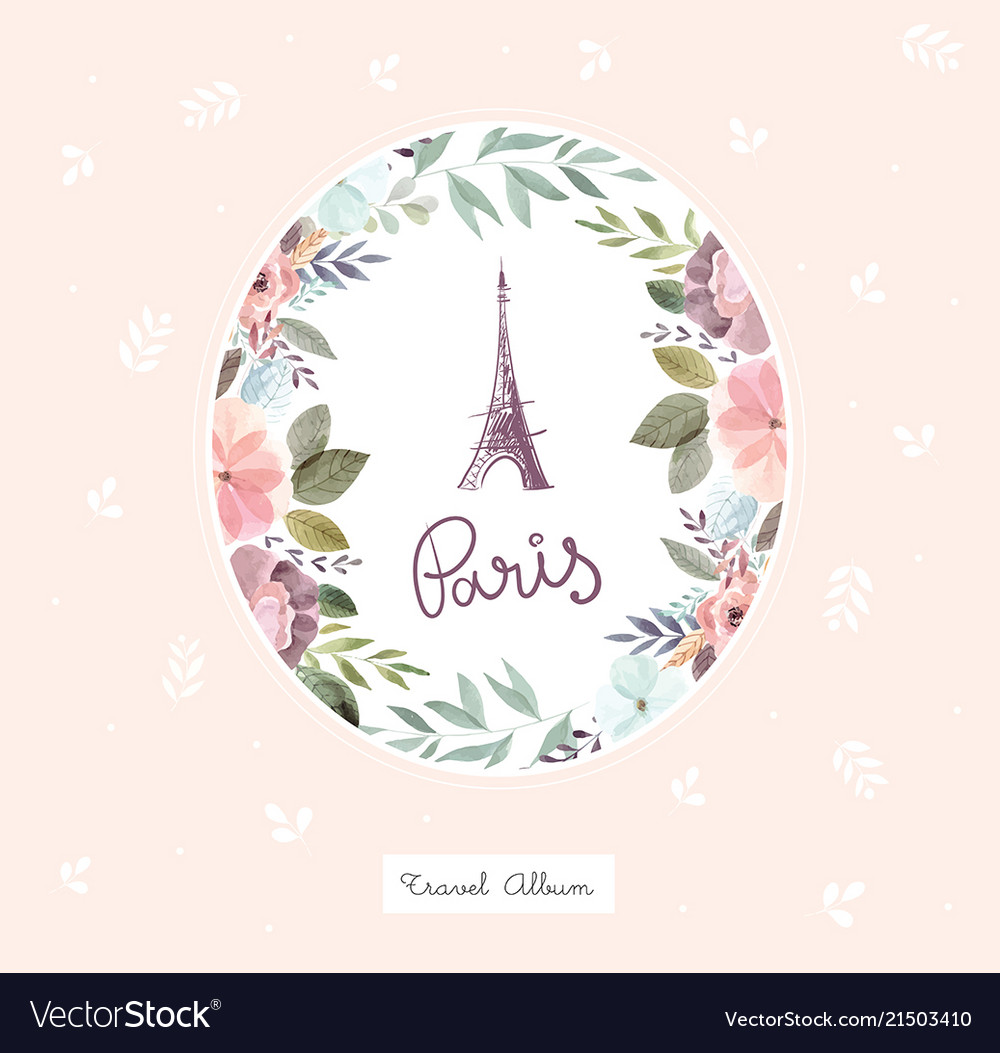 With eiffel tower and floral wreath