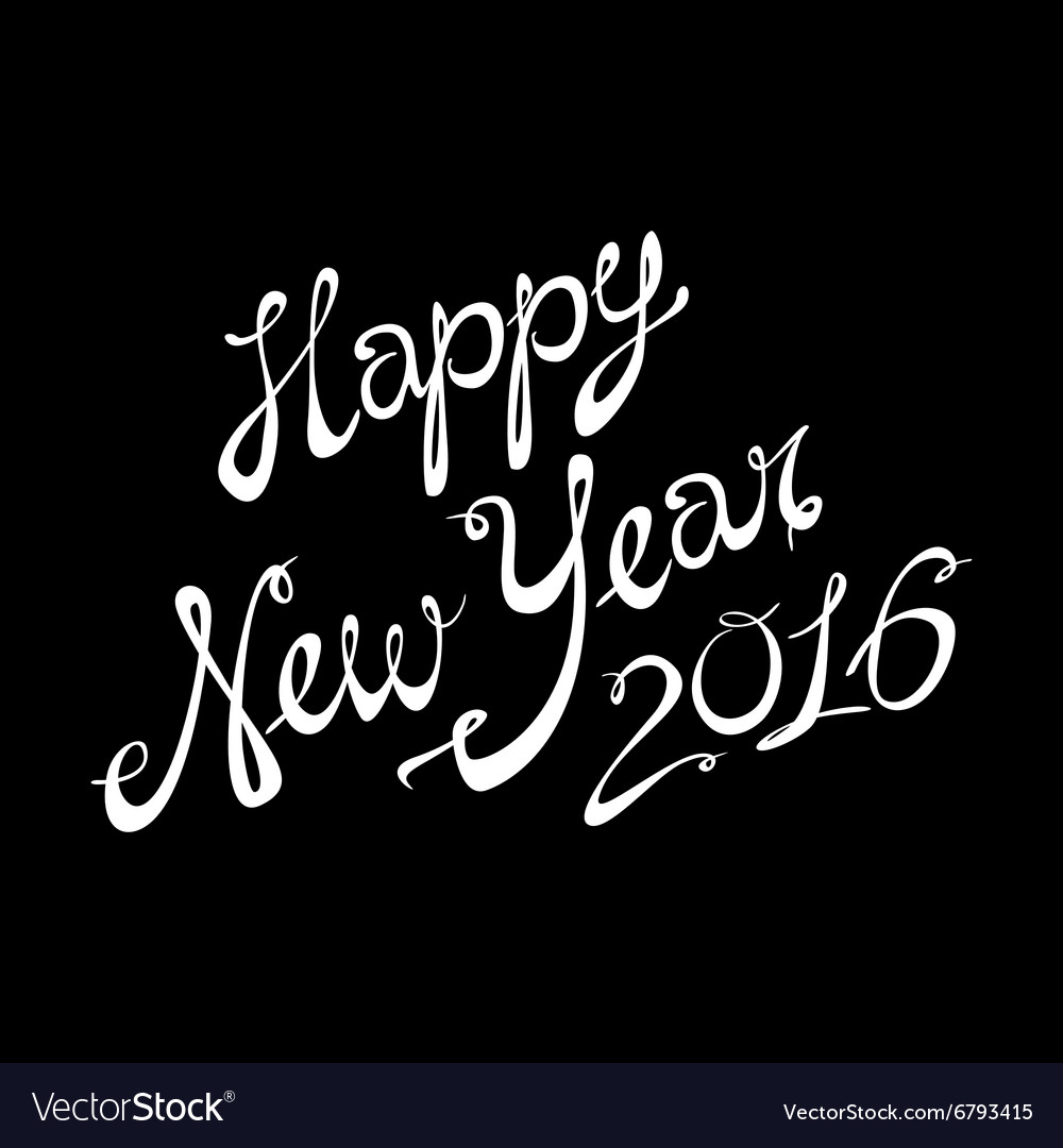 2016 Happy New Year lettering Greeting Card design