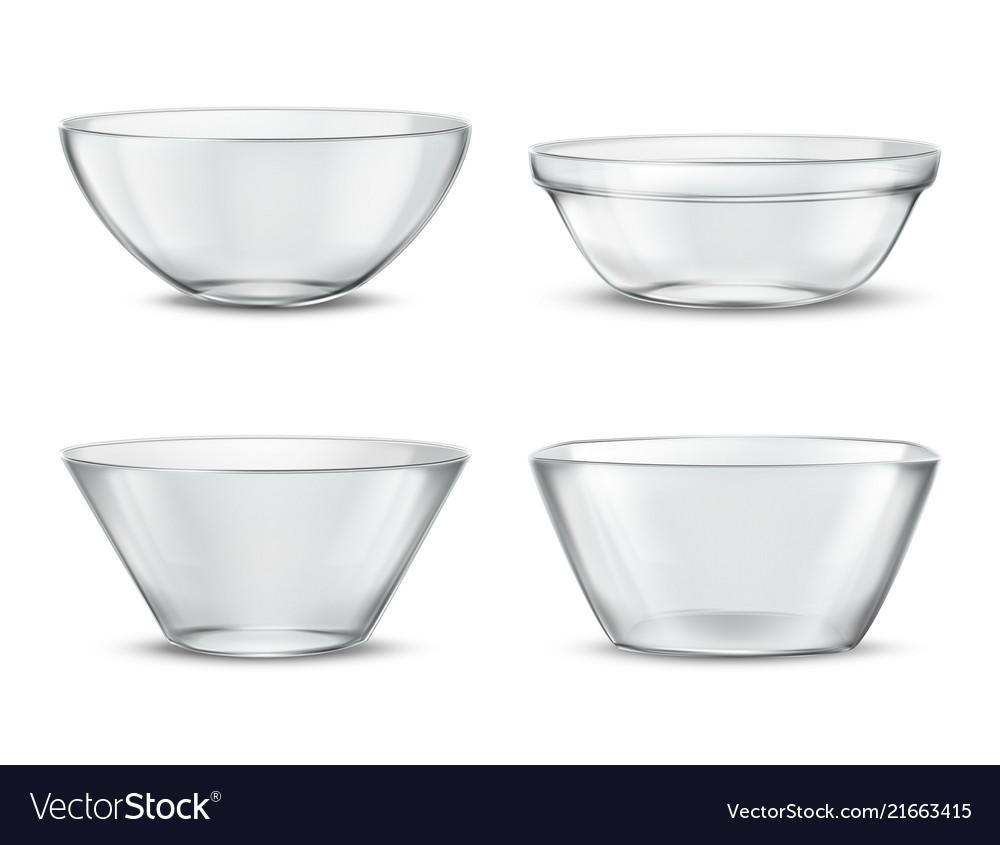 3d realistic transparent tableware glass
