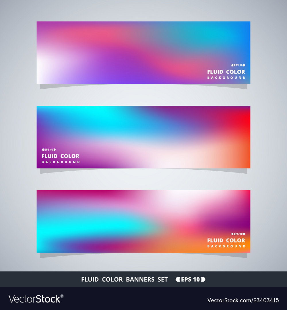 Abstract colorful fluid mesh banners set