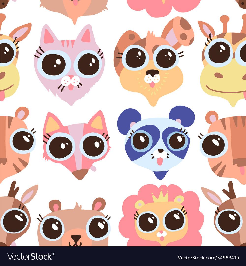 Cartoon cute childish animals faces