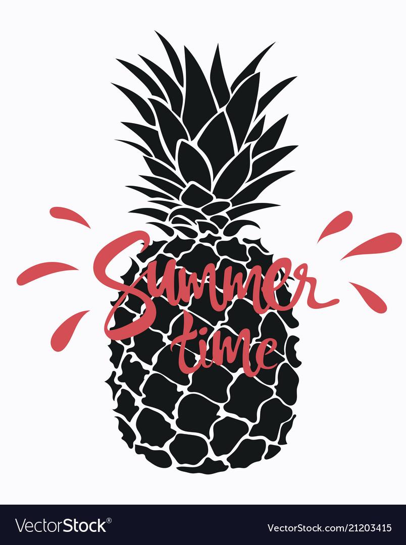 Cartoon pineapple with an inscription summer