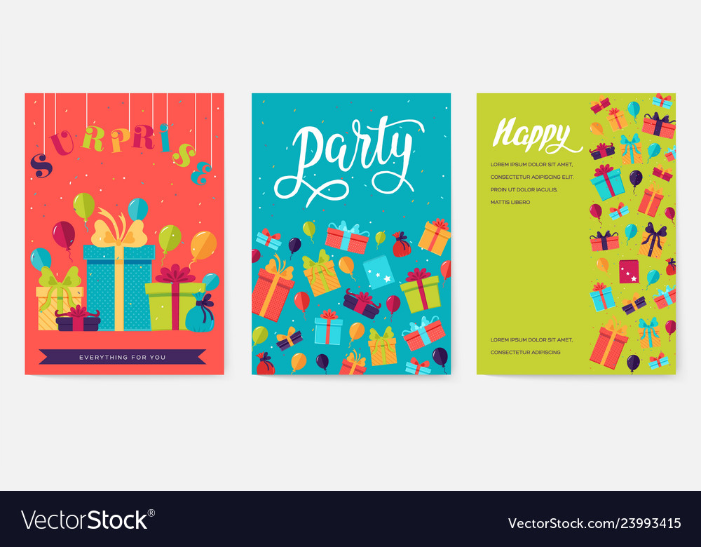 Gift information cards set surprise template of