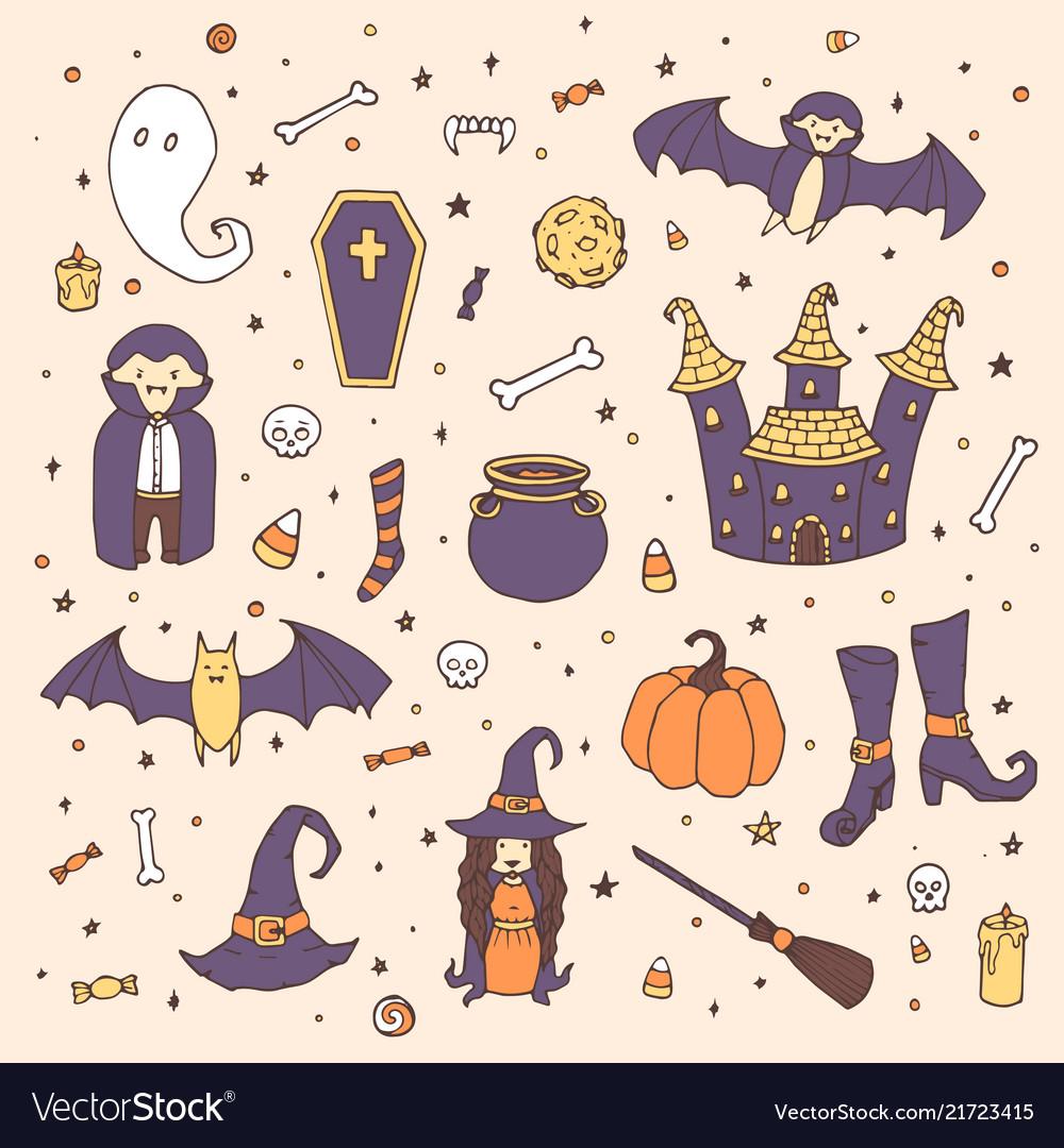 Halloween set with pumpkins ghosts vampire