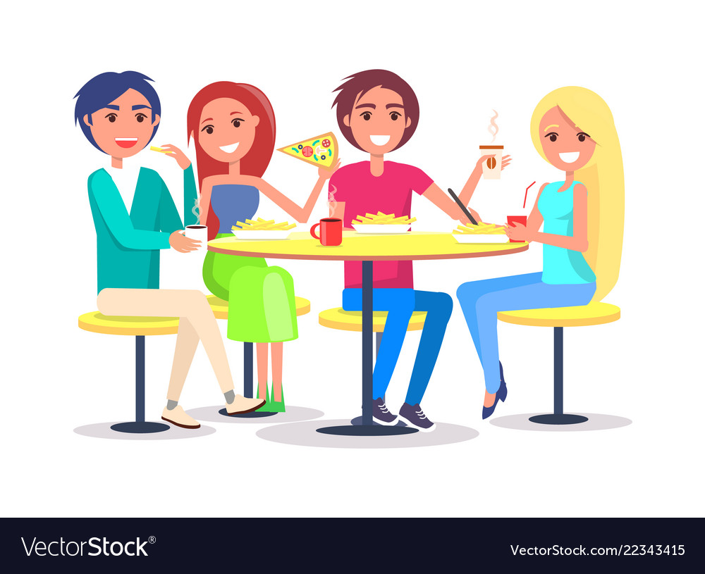 Happy Friends Sitting In Cafe Eating French Fries Vector Image