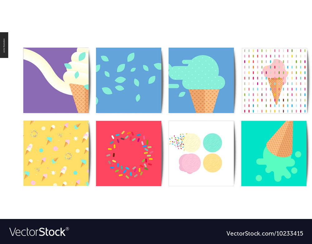 ice cream square postcards royalty free vector image