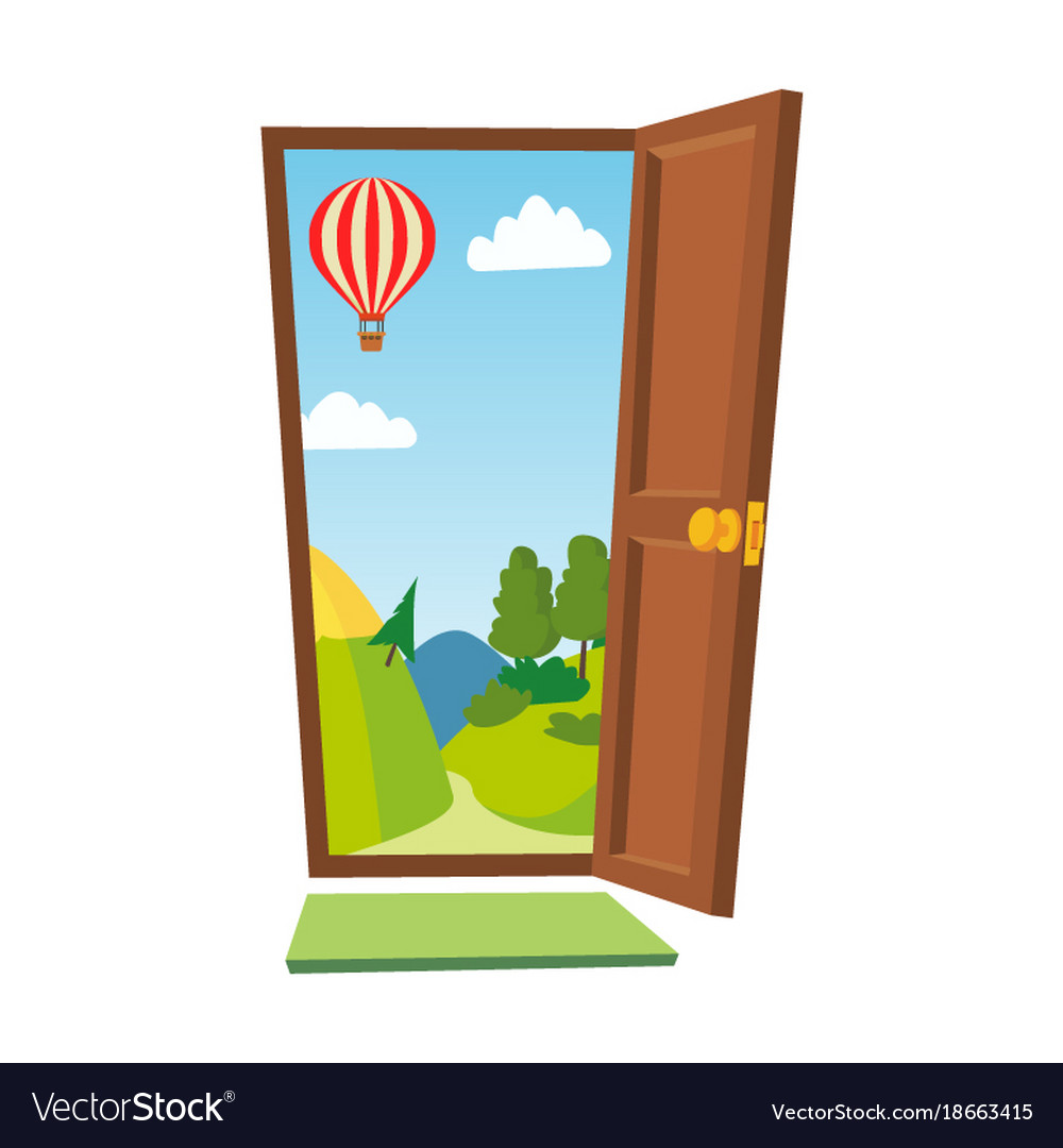 Open Door Cartoon Landscape Front View Royalty Free Vector