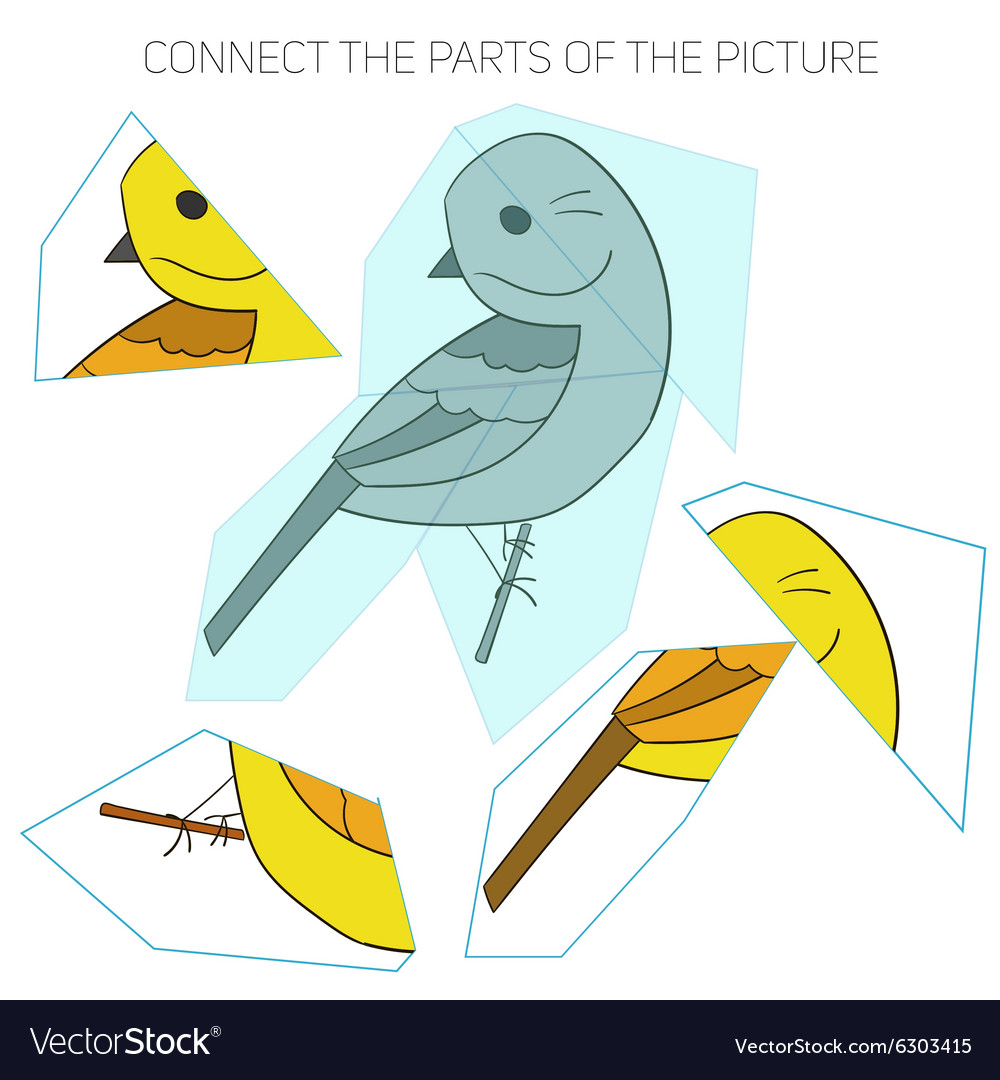 Puzzle game for chldren yellowhammer bird vector image