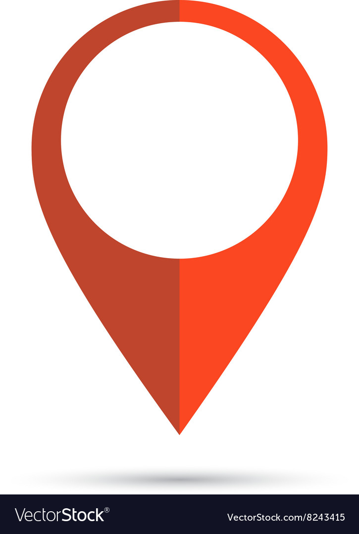 Red geo pin as logo with copy space on white