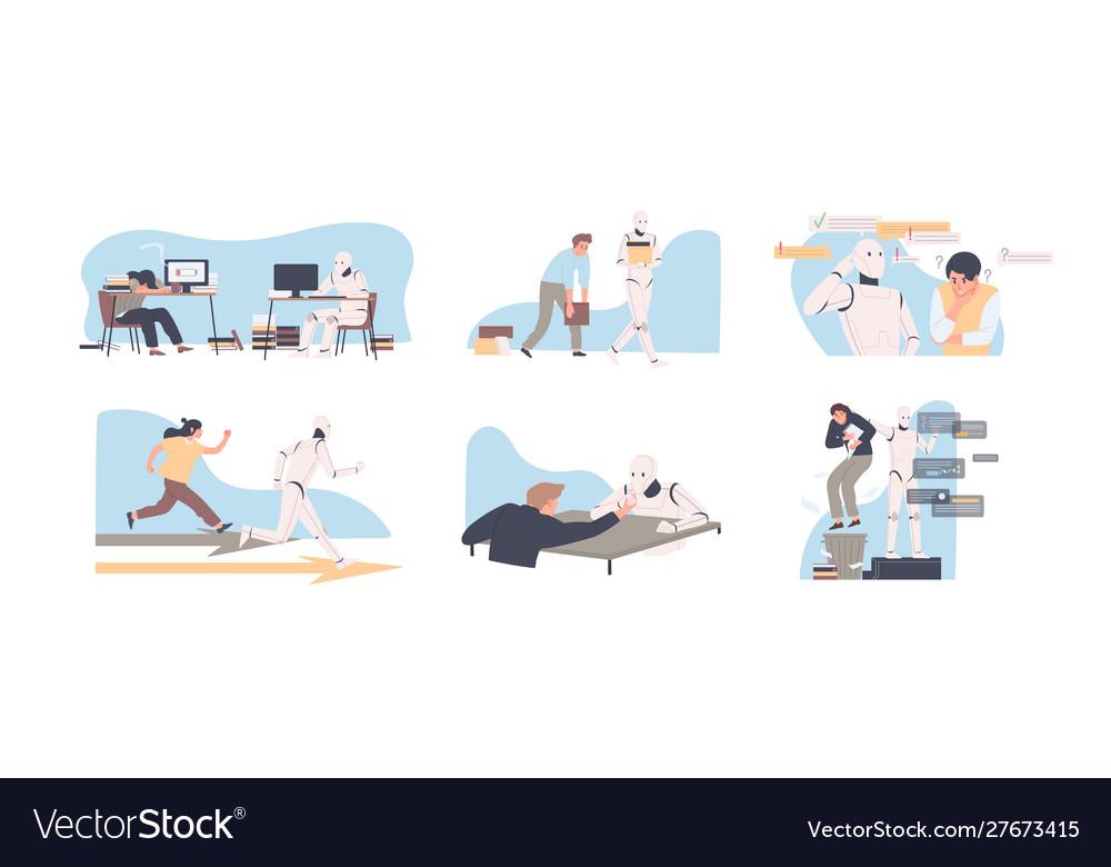 Robot versus human flat set