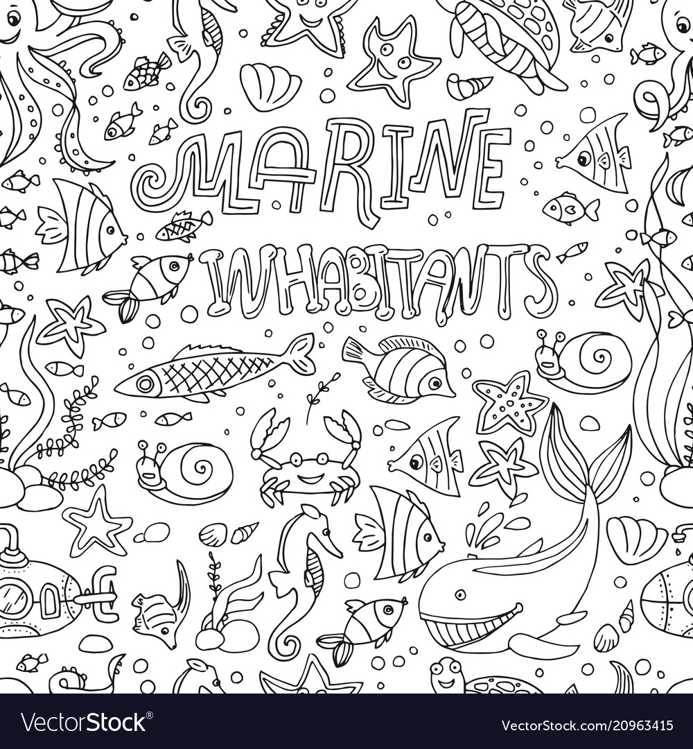 Seamless pattern marine inhabitants