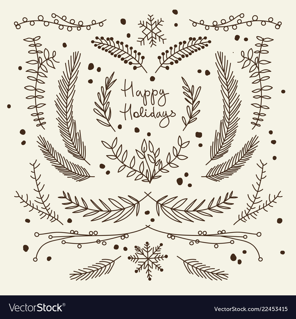 Winter floral hand drawn template
