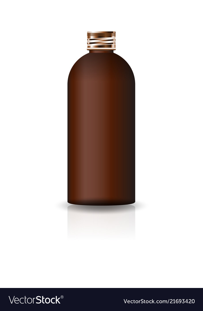 Blank brown cosmetic round bottle with copper lid