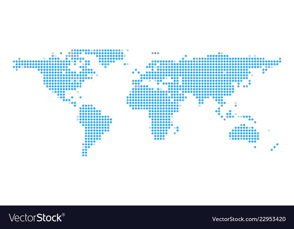 Blue earth dot map on white isolated background Vector Image on