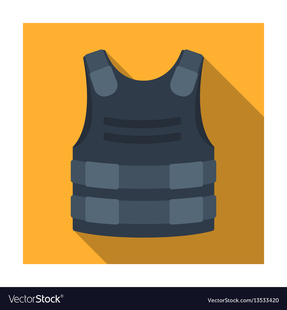 Bulletproof vest icon in flat style isolated on