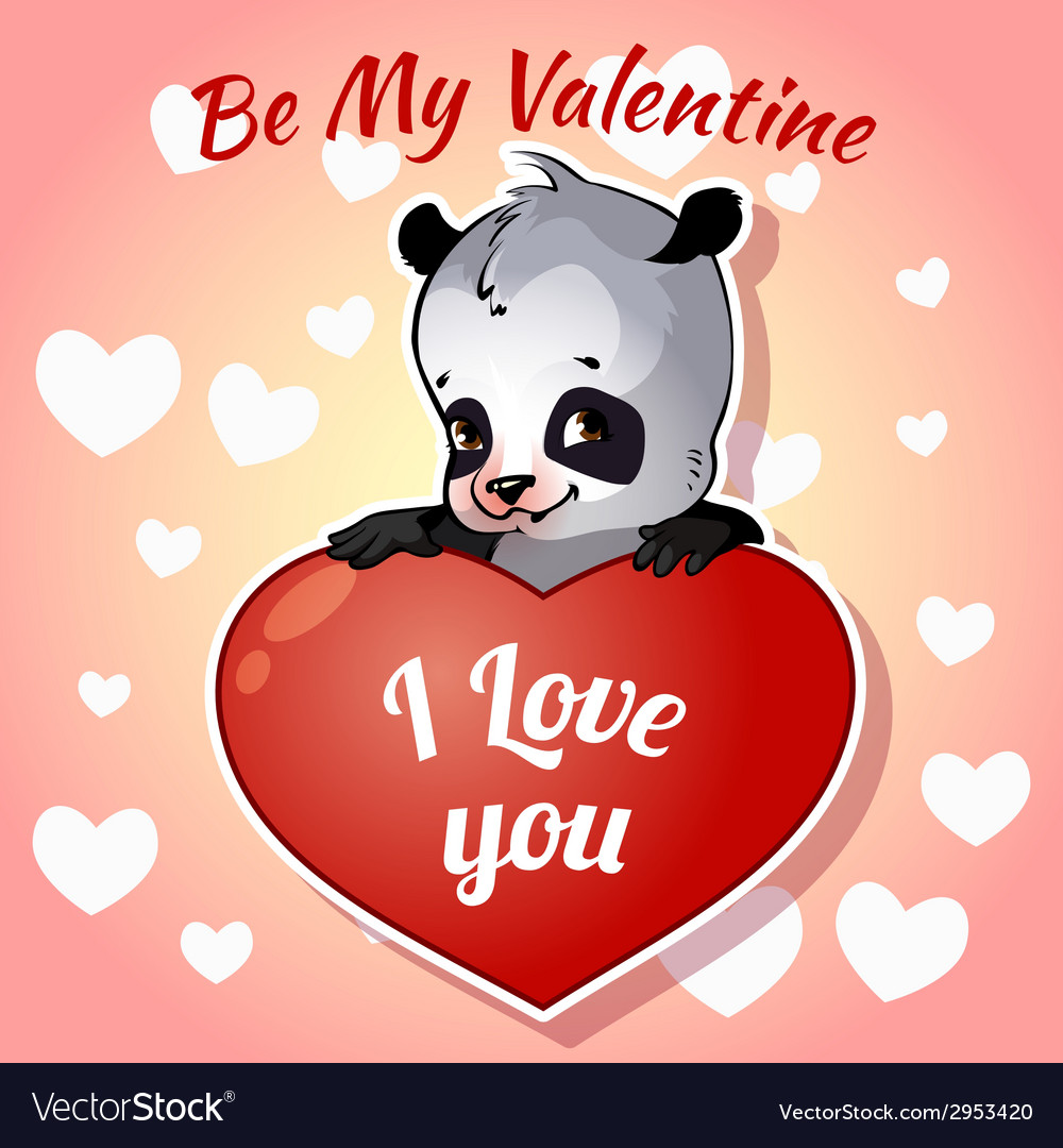Cute panda for Valentines Day