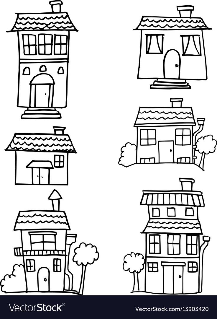 Hand draw of house set style vector image
