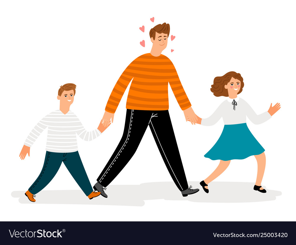 happy father with daughter and son walk royalty free vector vectorstock
