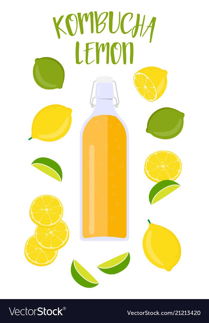 Kombucha tea with lemon in a vintage bottle