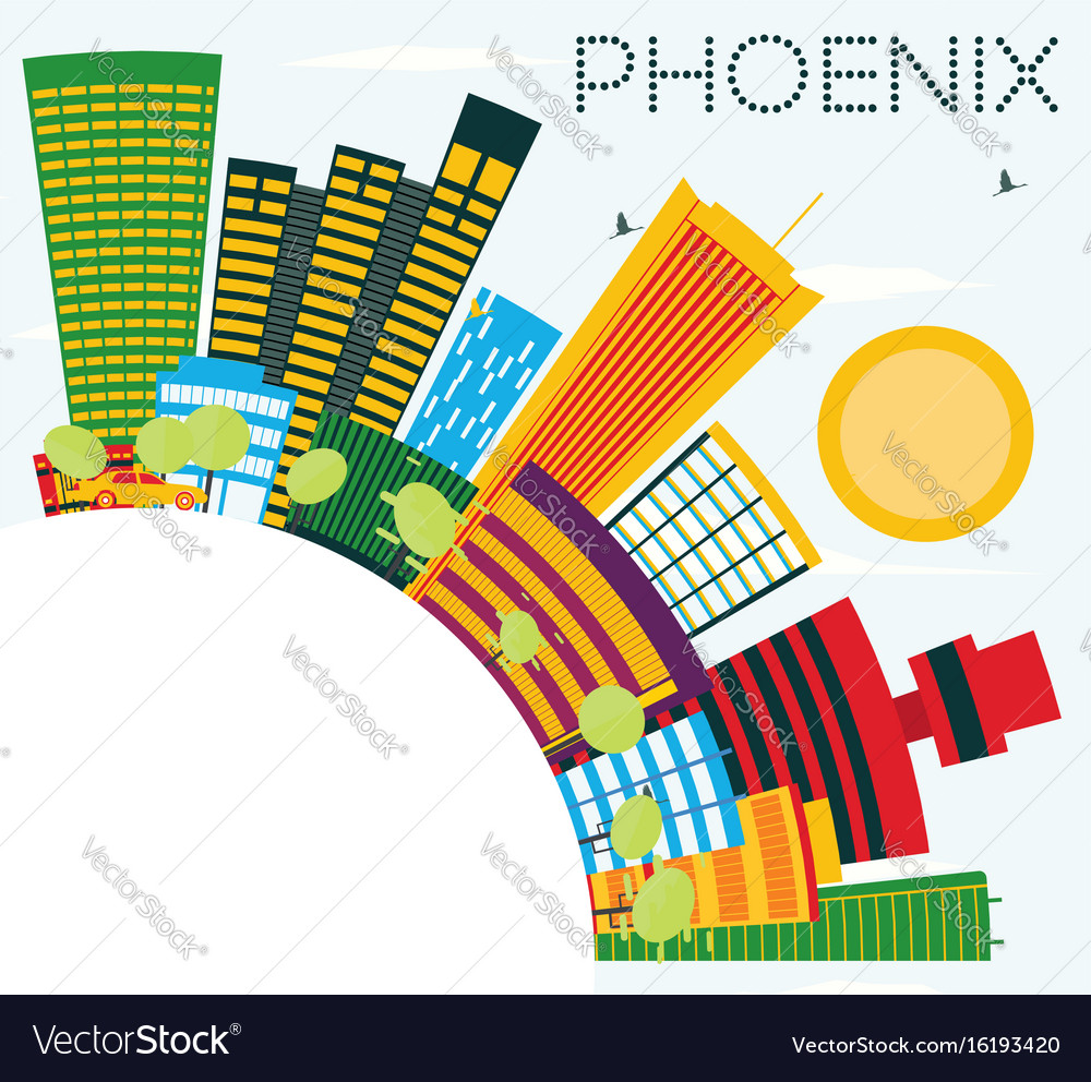 Phoenix skyline with color buildings blue sky and