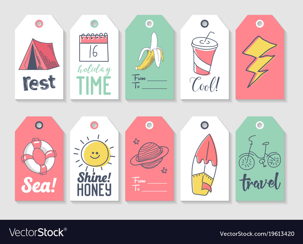 Summer beach vacation tags collection