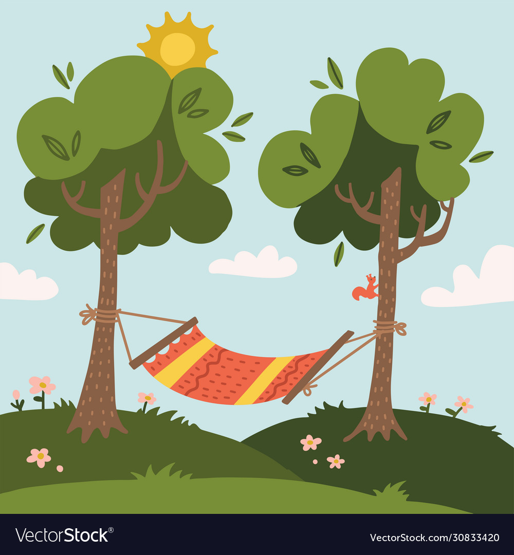 Summer hammock with trees in forest or garden